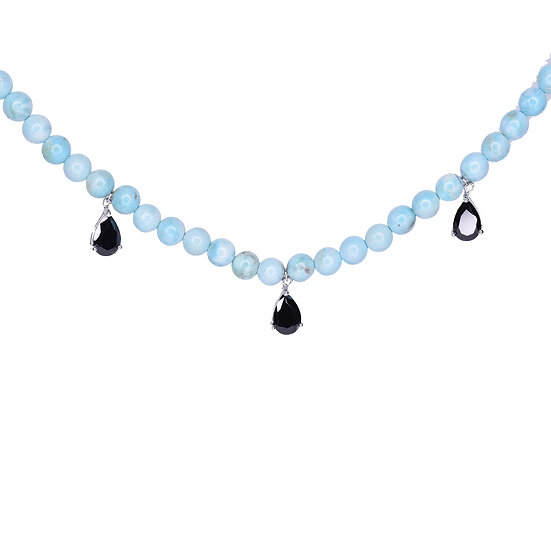 Beads necklace with 3 drops