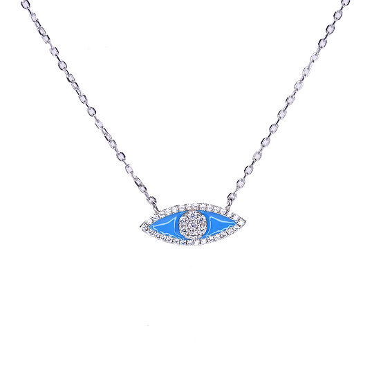 Small turquoise evil eye necklace