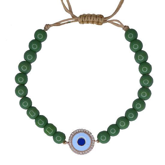 צמיד חרוזים ירוקים עם עין אמייל תכלת