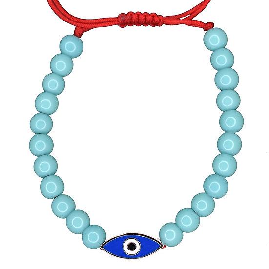 צמיד חרוזים טורקיז עם עין אמייל כחול