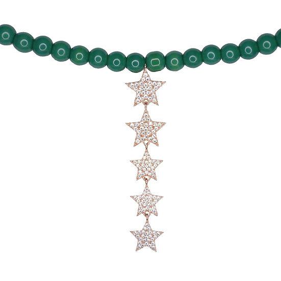 שרשרת חרוזים ירוקים עם כוכבים נופלים