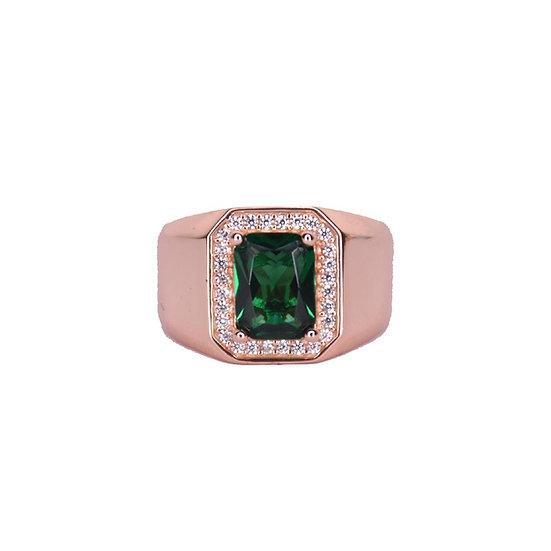 טבעת חותם ירוק לזרת