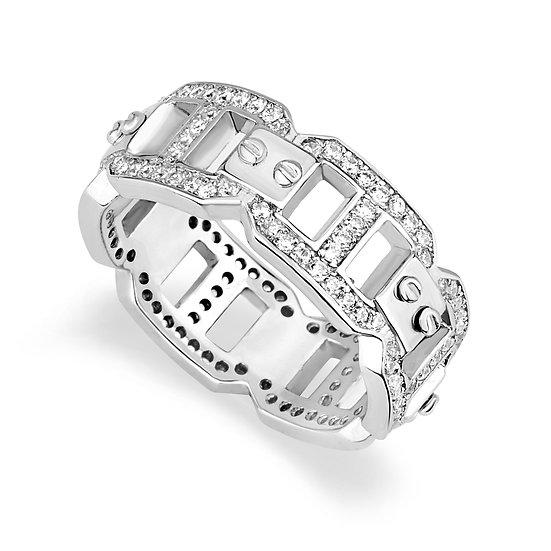 טבעת מלבנים משובצת