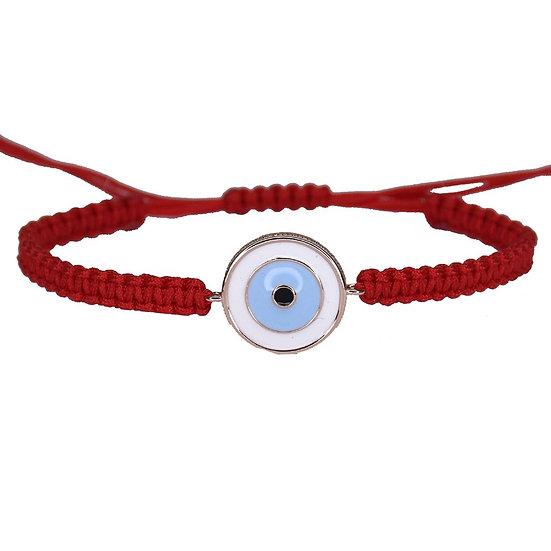 צמיד חוט אדום עם עין אמייל תכלת/כחול