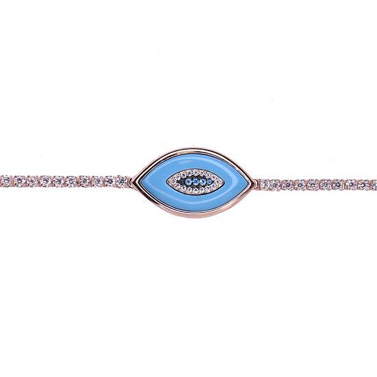 שרשרת צ'וקר טניס עם עין טורקיז