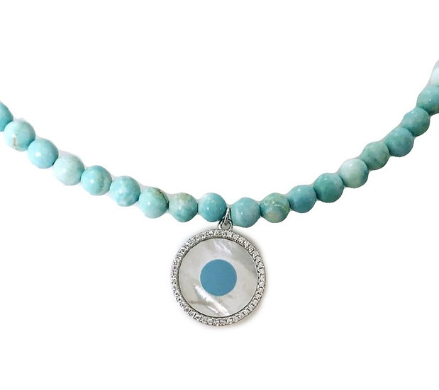 Turquoise beads necklace with round pearl evil eye
