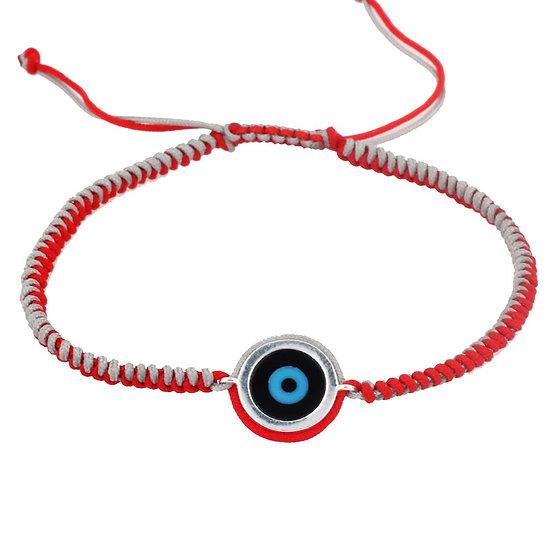 צמיד גבר חוט רקום אדום עם עין עיגול