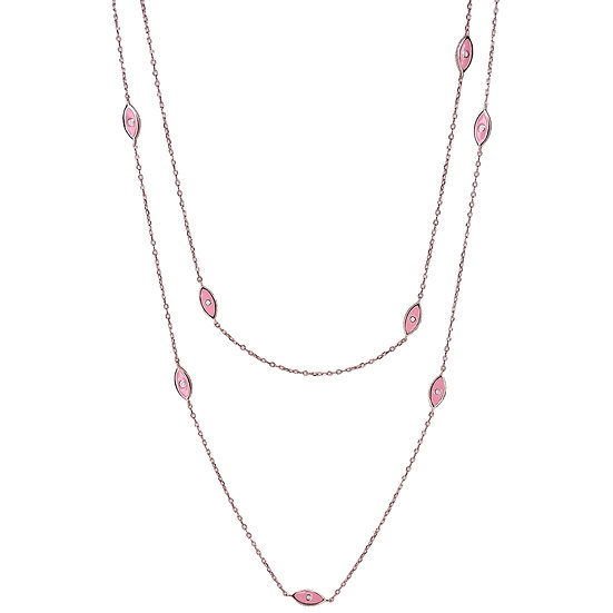 Long necklace with pink eyes