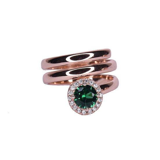 טבעת ספירלה עם אבן עגולה ירוקה