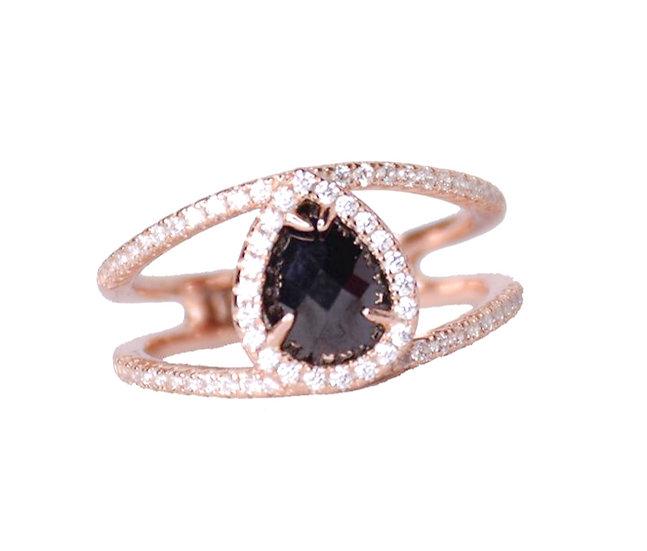 טבעת אבן אוניקס טיפה מרכזית