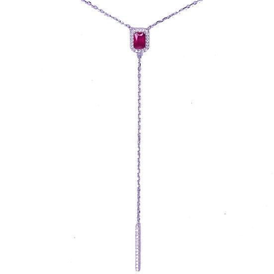 שרשרת זרקון רובי עם שרשרת נופלת