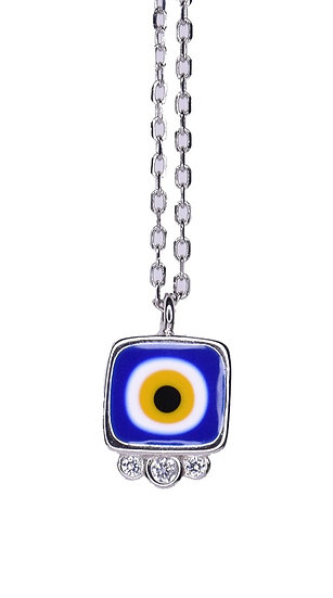 Small square evil eye necklace