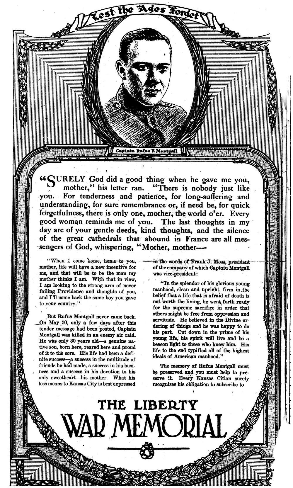 Liberty Memorial Ad in Kansas City Star
