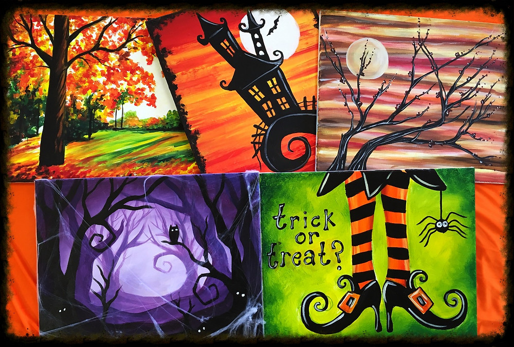 Carlsbad art school, painting party, Halloween and fall paintings.