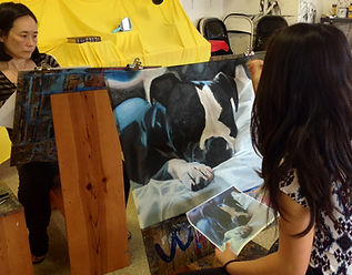Adult art classes, Carlsbad Art school, Acrylic and canvas, dog painting.