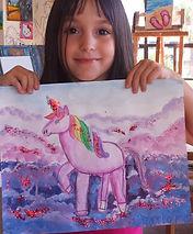 Kids art classes, Carlsnad art school, Unicorn painting, glitter horse