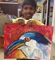 Kids art classes, Carlsnad art school, Oil pastel bird,