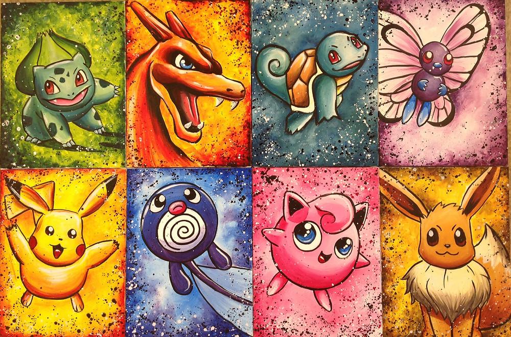 Pokemon painting, acrylic on canvas, carlsbad art school,