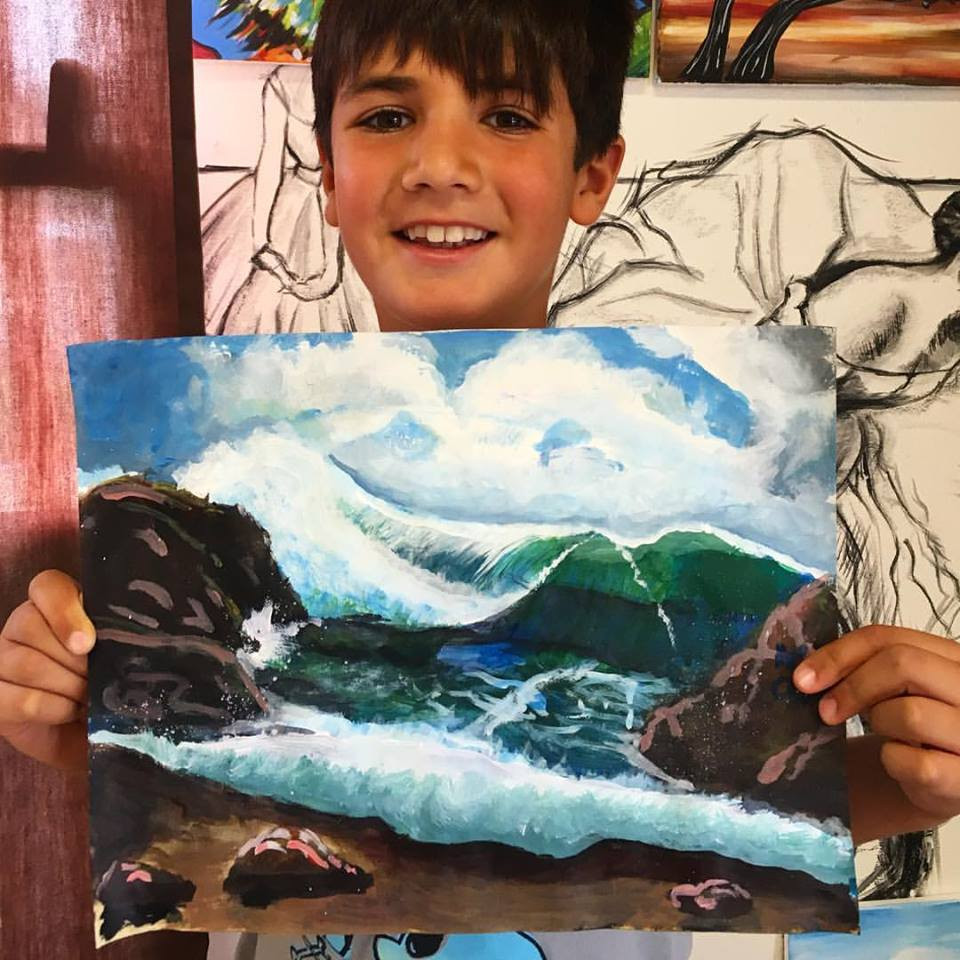 Student of the month Kian, age 9. Kian's latest masterpiece is a beautiful seascape created in watercolor on paper.