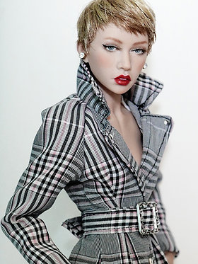 Grey and pink plaid coat with crystal buckle belt.
