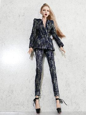 Navy/silver tweed suit set.