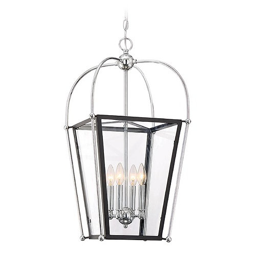 Savoy House Lighting Dunbar Matte Black / Polished Chrome Pendant Light