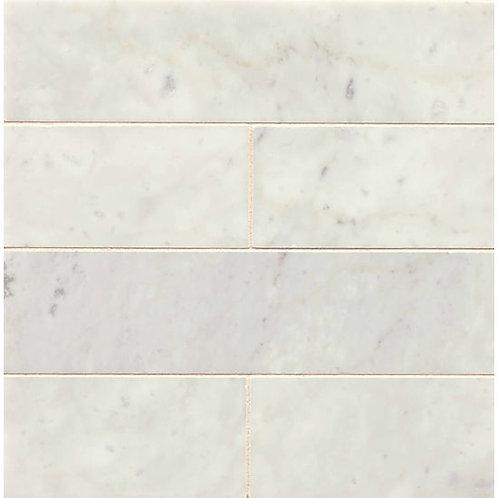 """White Carrara  3""""x 12"""" - White Carrara Collection"""