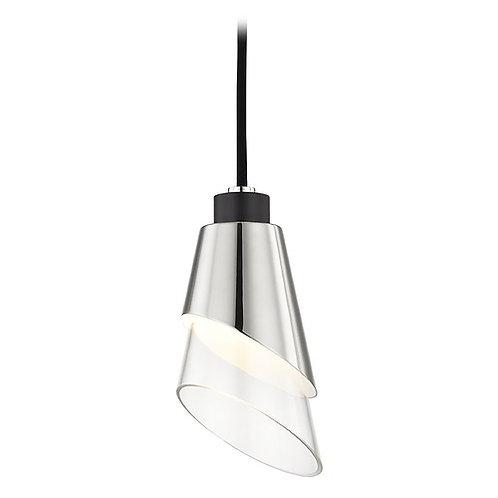 Modern LED Pendant Light Polished Nickel / Black Mitzi Angie by HUdson Valley