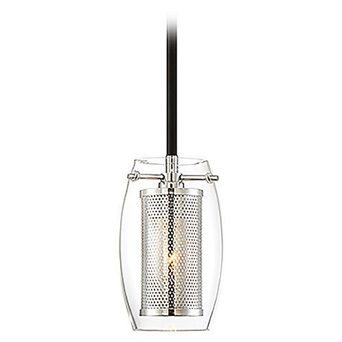 Savoy House Dunbar Matte Black and Chrome Pendant with Chrome Mesh Shade