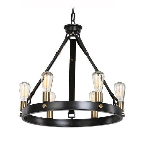 6 Light Industrial Edison Bulb Chandelier