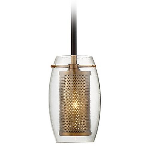 Savoy House Lighting Dunbar Warm Brass / Bronze Mini-Pendant Light with Oblong S