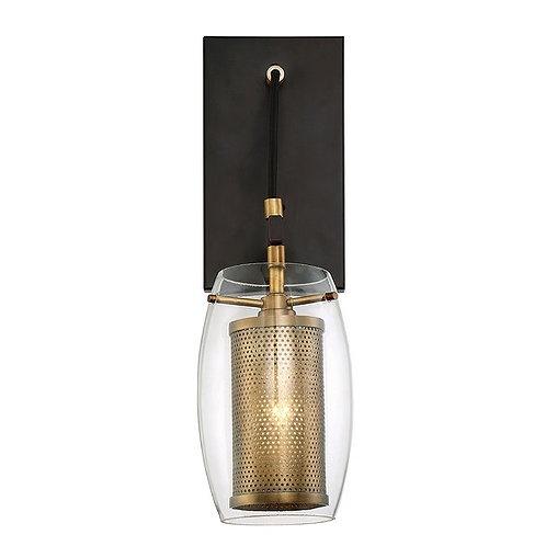 Savoy House Lighting Dunbar Vintage Black / Warm Brass Sconce