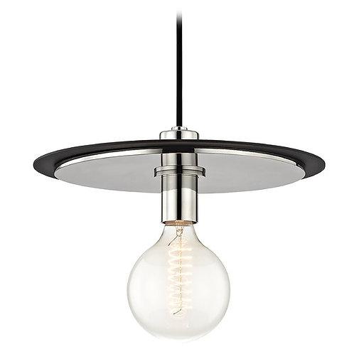 Mid-Century Modern Pendant Light Polished Nickel / Black Mitzi Milo by HVLG