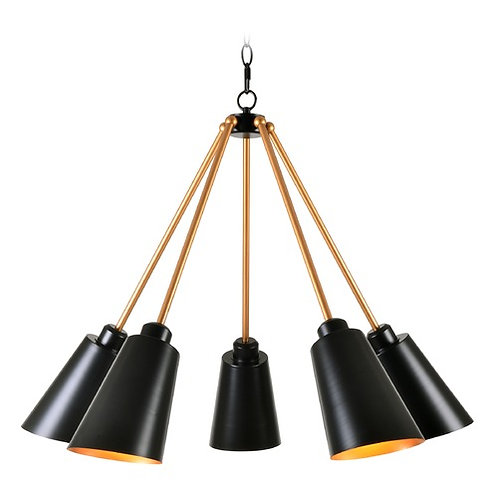 Modern Chandelier Black with Brass inside Alvar by Kenroy Home Lighting