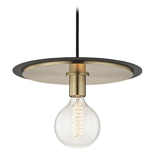 Mid-Century Modern Pendant Light Brass / Black Mitzi Milo by Hudson Valley