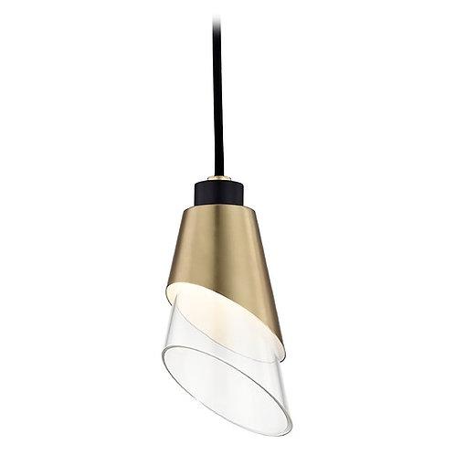 Modern LED Pendant Light Brass / Black Mitzi Angie by Hudson Valley