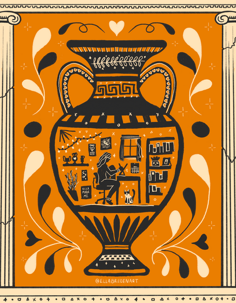 In the studio: Greek Pottery Inspired Illustration