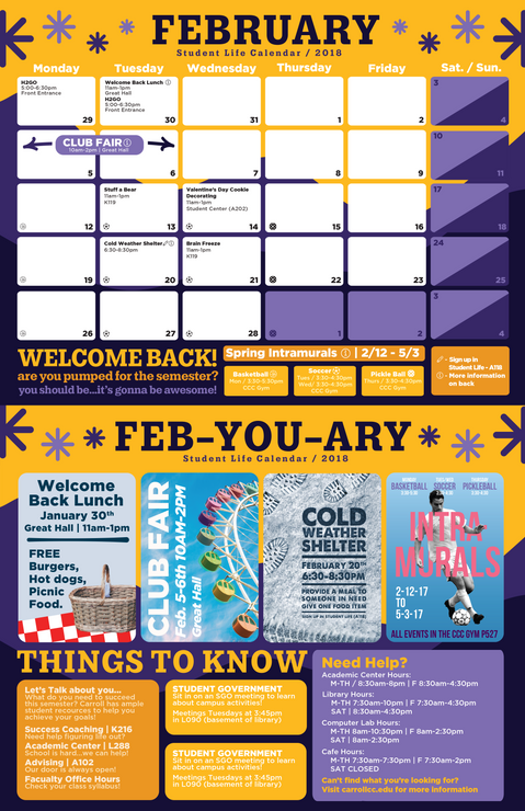 February Carroll Student Life Office Calendar