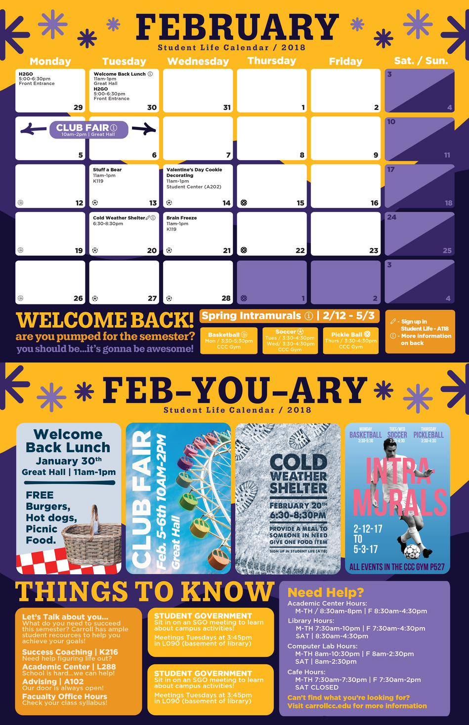 February Carroll Student Life Office Calendar