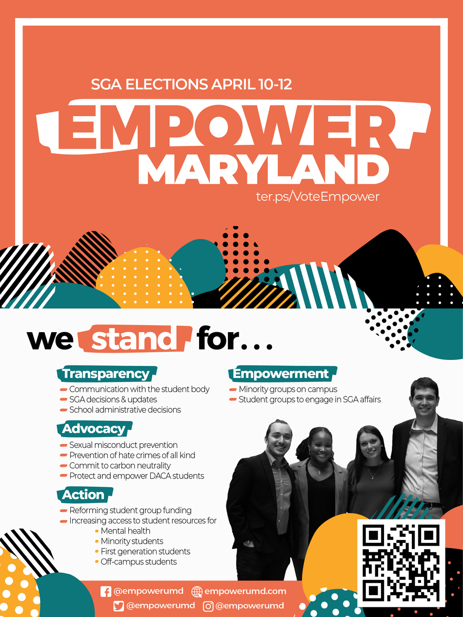 University of Maryland Student GOvernment Elections Palm Card