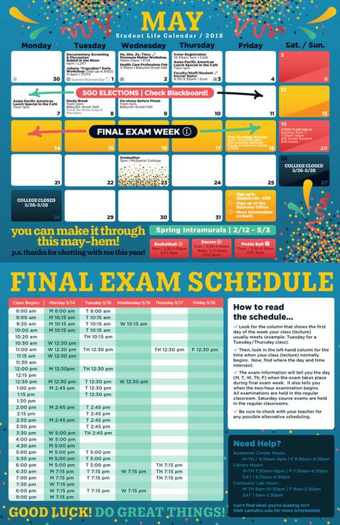 May Carroll Student Life Office Calendar