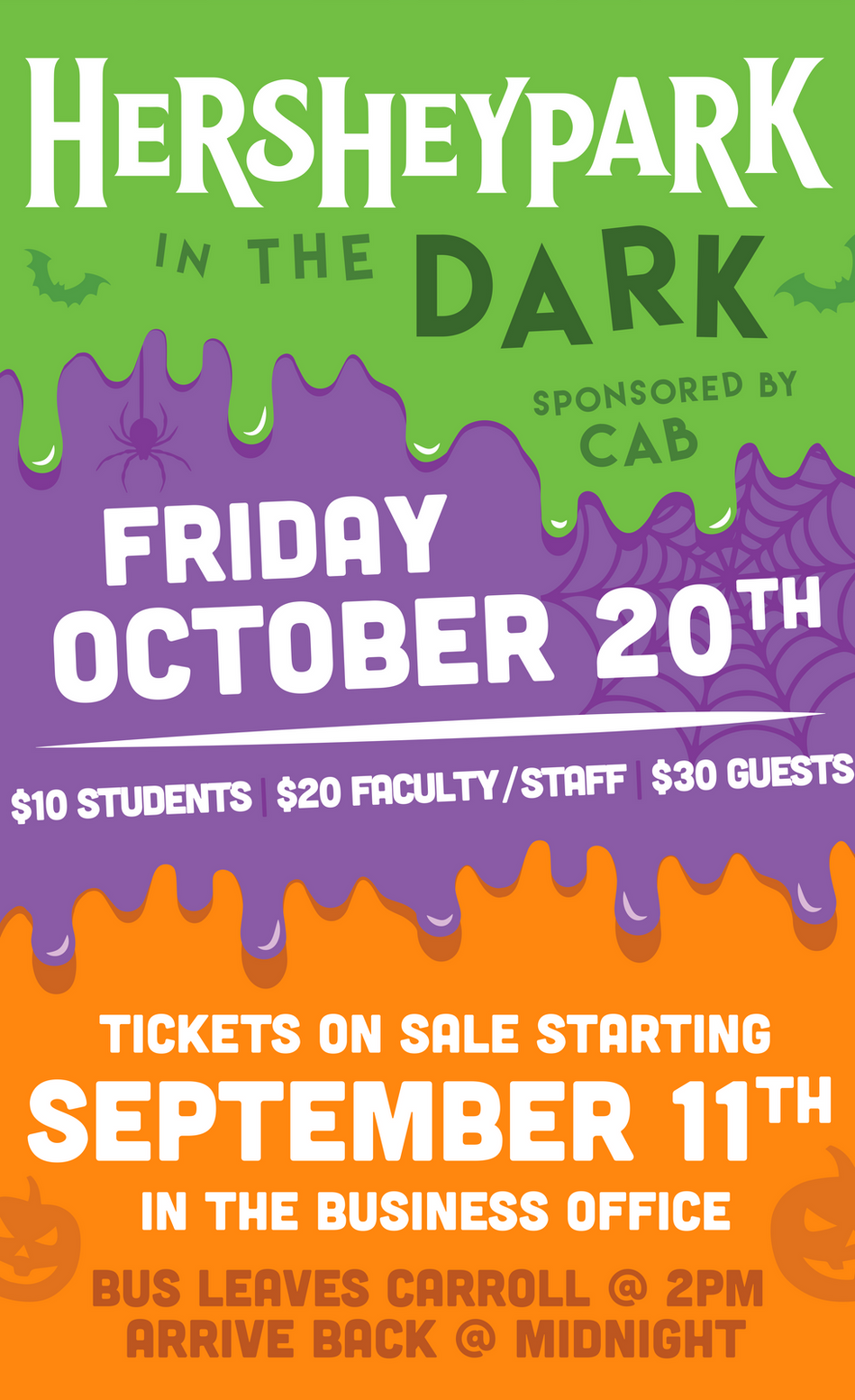 Hershey Park in the Dark Student Life Banner