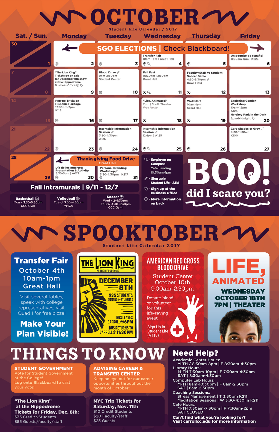October Carroll Student Life Office Calendar