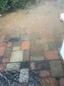 Flooding from storm on patio.