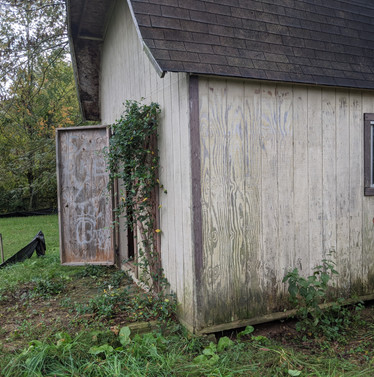 Before picture of old shed to be demolished with mini excavator.