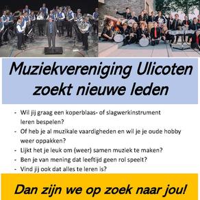 Muziekvereniging Ulicoten zoekt nieuwe leden