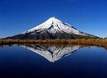 Mt Taranaki. Reflection from Ahukawakawa Swamp.