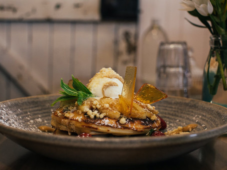 Tropical fruit crepes with vanilla bean and rhum butter sauce