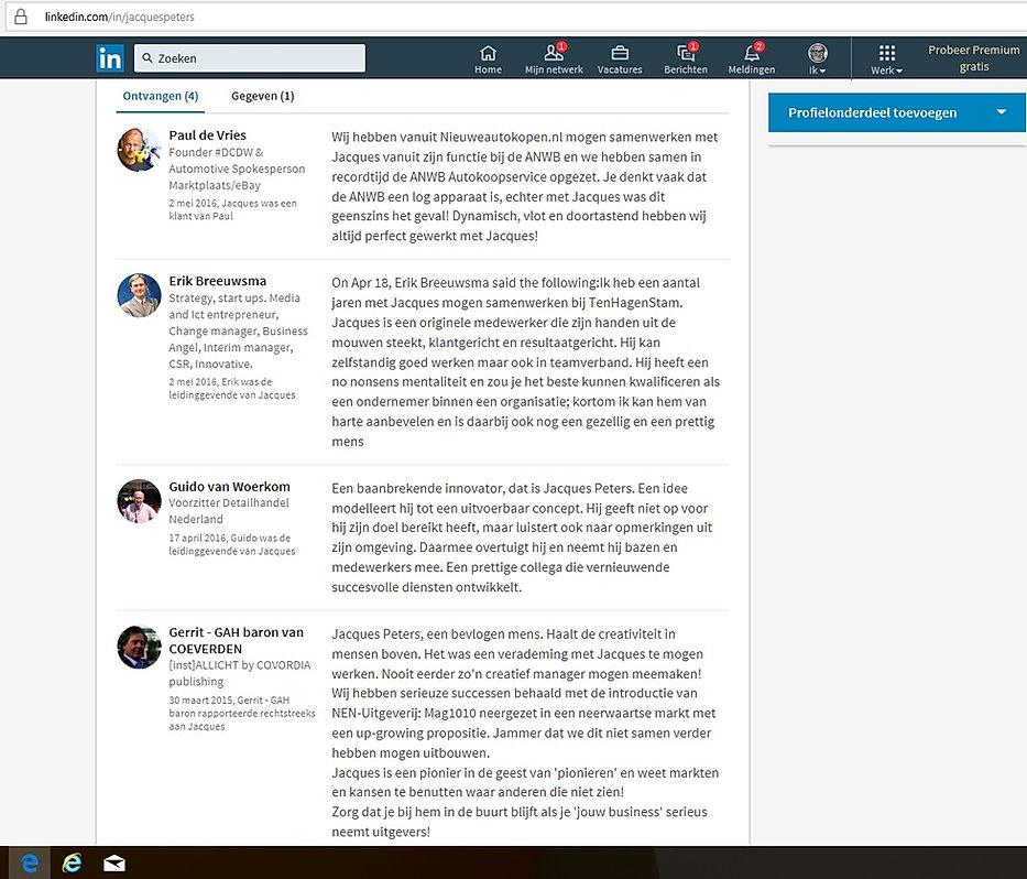 Aanbevelngen LinkedIn