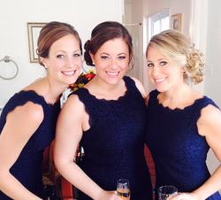 Bridesmaids in navy dresses